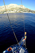 View from ship's mast to coast of Kalymnos, Kalymnos, Greece