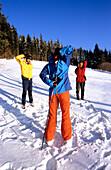 Triplet of nordic walkers, stretching, Nordic walking, Muehlviertel, Upper Austria