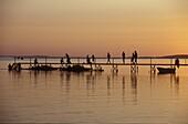 People on a footbridge, Sundown, Near Faldsled, Fuenen Denmark