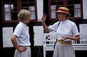 Two Ladies at Den Gamle By, Open Air Museum, Arhus Juetland, Denmark