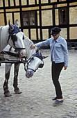 Girl and Horses, Den Gamle By, Open Air Museum, Arhus Juetland, Denmark
