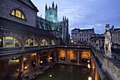Roman Baths and Bath Abbey, Bath, Somerset England