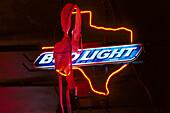 Hanging Bra, Bud Light Sign, Adair' s Bar & Grill, Dallas , Texas USA