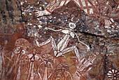 Aboriginal Rock Paintings, Nourlanglie Rock, Kakadu NP N.T., Australia