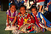 A group of native American girls wearing traditional dress, North American Indian Days, Browning, Montana USA