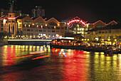 Riverside Point at Night, Singapore River Singapor, Asia