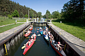 Kayaks in River Lock, Kayaks in river lock, Diemitz Lock, Mecklenburgian Lake District, Germany