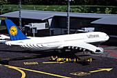 Lego Lufthansa Airbus A340, Legoland, Billund, Central Jutland, Denmark