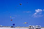 Kites & Campers on Beach, Lakolk Beach, Romo, Denmark