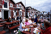 People enjoying Rejer shrimps and beer, Skagen Fiskerestaurant, Fish restaurant, Skagen, Northern Jutland, Denmark