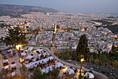 Al Fresco Dining with View, Orizontes Restaurant, Lykavittos Hill Athens, Greece
