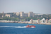 Sea Shuttle and Rhodes Fortification, Rhodes Harbor, Rhodes, Dodecanese Islands, Greece