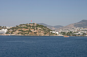 View from the sea upon St. Peter´s Castle, Bodrum, Turkish Aegean, Turkey