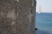 Castle Wall, Star Flyer in the background, St. Peter's Castle, Bodrum, Turkish Aegean, Turkey