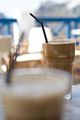 Cold Frappe Coffee, Street cafe, Fira, Santorini, Cyclades, Greece