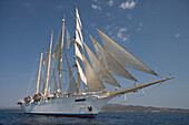 Star Flyer under Full Sail, near Hydra, Aegean Sea, Hydra, Idhra, Saronic Islands, Greece