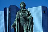 Statue of Schiller at the Deutsche Bank in Frankfurt am Main, Hessen, Germany