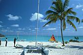 Sandstrand mit Palme und Katamaran, Treasure Cay, Strand, Abaco, Bahamas