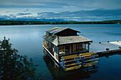Houseboat on Wasilla Lake, Alaska, USA