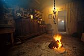 Nostalgic kitchen with fireplace, Black House, Scotland, Great Britain