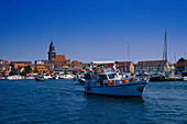 Motor boat in a harbour, Lake Mueritz, Mecklenburg lake district, Mecklenburg-Vorpommern, Germany