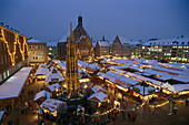 Evening athmosphere and View over the roofs of the christkindlesmarkt of Nuremberg, Bavaria, Germany