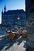 Streetcafé at the Market, Town Hall, Aachen, Nordrhein-Westfalen Germany