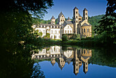 View of Maria Laach Abbey and reflection, Eifel, Rhineland Palatinate, Germany