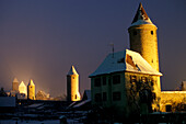 Old city wall and watch towers, snowcovered, Dinkelsbuhl, the Romantic Road, Franconia, Bavaria, Germany