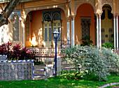 Exterior view of the Casa Roman with garden, Cartagena de Indias, Colombia, South America