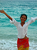 Cheerful young woman on the beach, Carribbean Beach, Colombia, South America
