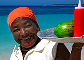 Fruit Vendor with Red Bottles, Carribbean Beach, Cartagena, Colombia, South America