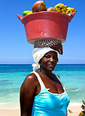 Fruit Vendor with Red Bowl, Carribbean Beach, Cartagena, Colombia, South America