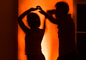 Silouettes of Couple Dancing Salsa, Turning, Southamerican Music, New York Style, Praterinsel, Munich, Germany