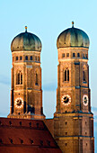 The Twintowers of the Frauenkirche and landmark of the bavarian capital, Cathedral of our Lady, Munich, Bavaria, Germany