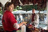 Women selling food at Viktualienmarkt Muenchen, Selling Food at the Viktualienmarkt, Market, Munich, Bavaria, Germany