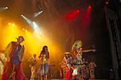 Elba Ramalho at Festas Juninas, band with singer on stage, Sao Joao, Brazil, South America