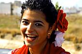 Smiling Flamenco dancer, Seville, Andalusia, Spain