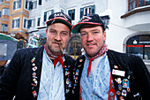 Two supporters of the Hahnenkamm race, Kitzbuehel, Tyrol, Austria, Europe