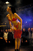 Woman in underwear, underwear-fashion show at Disco Madleine Wunderbar, Ischgl, Tyrol, Austria, Europe