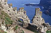 Ruins of Tintagel Castle at the coastal, Cornwall, England, Great Britain, Europe