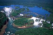 Aerial view of the Iguacu Falls, Parana, Brazil, South America, America