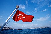 Turkish Flag, Bosporus Boat Trip, Istanbul, Turkey