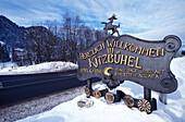 Town sign in Kitzbuehel, Tyrol, Austria