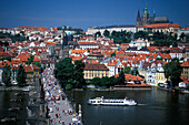 View of Charles Bridge and the town of Prague, Czechia, Europe