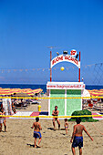 People playing volley ball on the beach, Rimini, Adriatic Coast, Italy, Europe