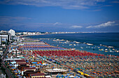 View of beach with sunshades, Cattolica, Adriatic Coast, Italy, Europe