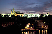 The illuminated Prague Castle in the evening, Hradcany, Prague, Czechia, Europe