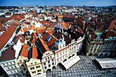 High angle view of Old Town Square, Prague, Czechia, Europe