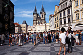 People at Old Town Square with Tyn Church, Prague, Czechia, Europe